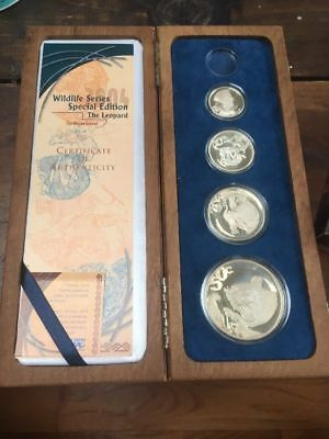 2004 Silver South African Wildlife Series Proof Set The Leopard 4 Coins Box COA