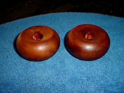 c Signed Vintage Pair Bermuda Hand Made Burled Walnut Wood Candle Stick Holders