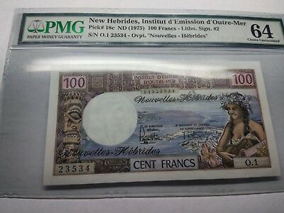 New Hebrides Pmg 64 100 Francs High Grade Super Rare Banknote Currency