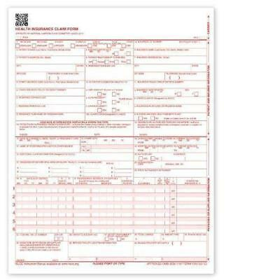 NEW CMS 1500 Claim Forms - HCFA (Version 02/12) 100 per Ream, New, Free Ship