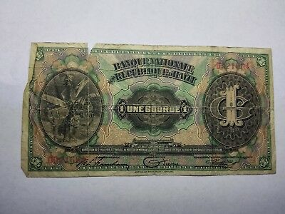1919 Haiti 1 Gourde Rare Banknote Currency