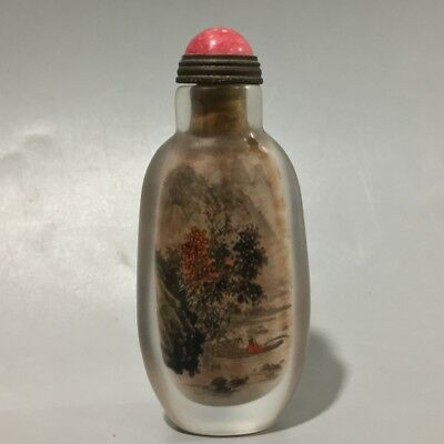 Chinese Exquisite Handmade people landscape crystal Inner painting snuff bottle