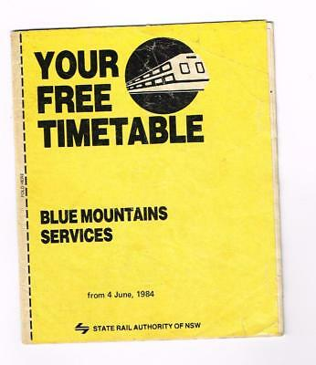 State Rail Authority Of NSW Timetable. Blue Mountains.1984