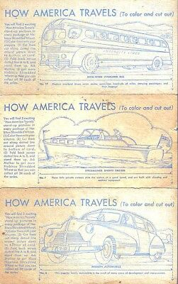 7 Nabisco Cards To Color/cut Out/stand Up -  How America Travels C. 1950