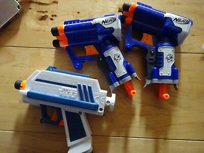 nerf guns 2 x n-strike elite 1 x star wars captain rex gun plus nerf bullets