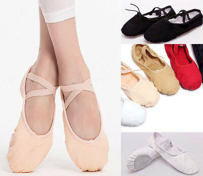Au Stock Child To Adult Ballet Jazz Dance Shoes Canvas&leather Split Sole Da027