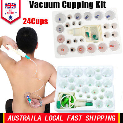 24pcs Set Vacuum Cupping Kit Massage Acupuncture Suction Massager Pain Relief AU