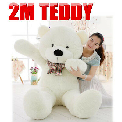 2M White Teddy Bear Giant Huge Cuddly Stuffed Plush Animal Doll Christmas Gift