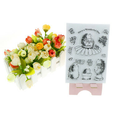 Cute Novelty Hedgehog Scrapbook DIY Photo Albums Cards Silicone Clear Stamps  X