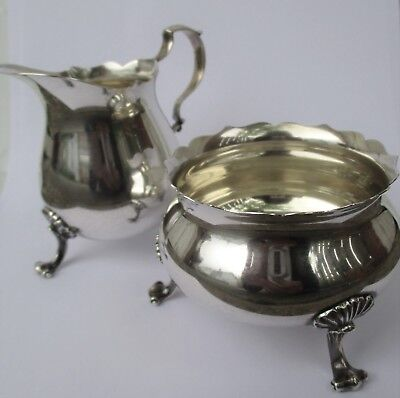 Vintage STERLING SILVER by POOLE ~  Footed Creamer & Sugar Bowl  #115