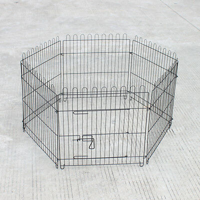 "Foldable 24.8"" Dog Crate Playpen for Dogs Eight Pet Exercise Cage Enclosure"