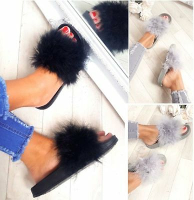 Womens Ladies Flat Fur Fluffy Sliders Slippers Sandals Flip Flop Girls Shoes AU