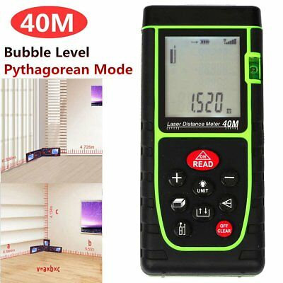 Handheld Digital Laser Point Distance Meter Tape Range Finder Measure 40m 131ft