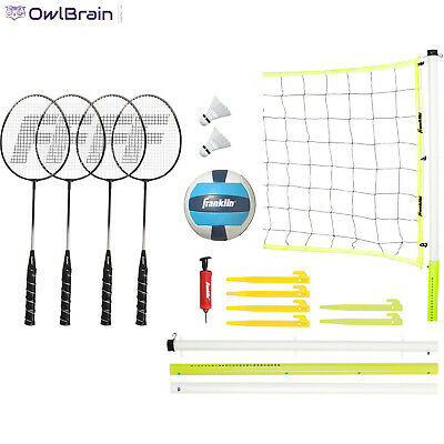 Family Sports Advanced Badminton and Volleyball Set With Carry Bag Beach Games