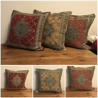 """marrakech tapestry cushion covers gold terracotta burgundy 18"""" new"""