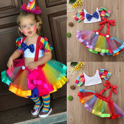Rainbow Toddler Kid Baby Girl Short Tops+Suspender Dress Overalls Party Outfits