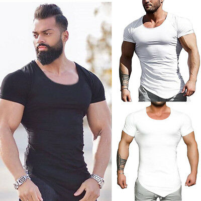 Men's Slim Fit O Neck Short Sleeve Muscle Tee T-shirt Casual Tops Cotton Shirts