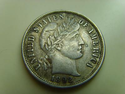 1892 Usa Dime 10 Cents Barber United States Of America Coin Ten Cents