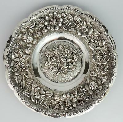 CONTINENTAL Antique FRENCH IMPORT SOLID SILVER FLORAL DISH 19th Century