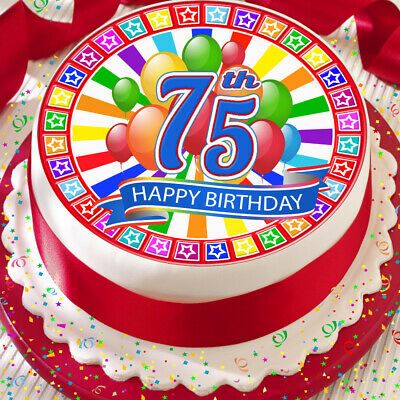 Happy 75Th Birthday Red Colourful Precut Edible Cake Topper 75 Inch J1659