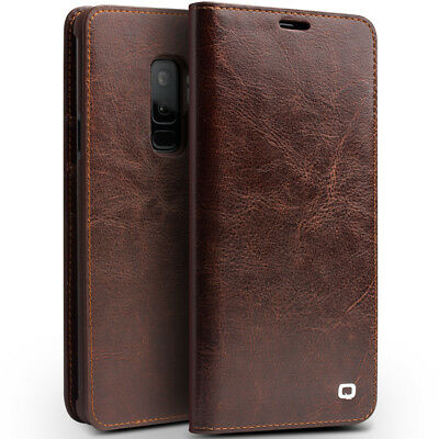 QIALINO Genuine Cowhide Leather Wallet Phone Cover for Samsung Galaxy S9 Plus