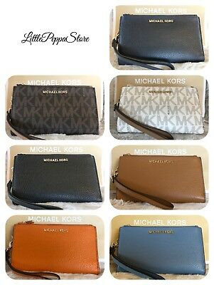 Nwt Michael Kors Jet Set Travel Pvc Or Leather Double Zip Wallet In Various