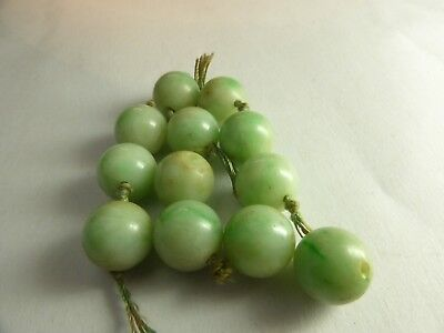 Loose Lot 12 Antique Chinese Apple Jade Jadeite Beads Spares Repairs Natural