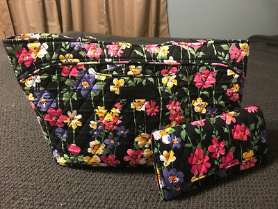 Vera Bradley black with floral print satchel with matching magnetic wallet