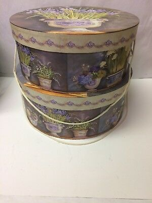 """Set of 2 Nesting Corded Floral Wig Storage Hat Box Boxes Cardboard 14"""" 15"""""""