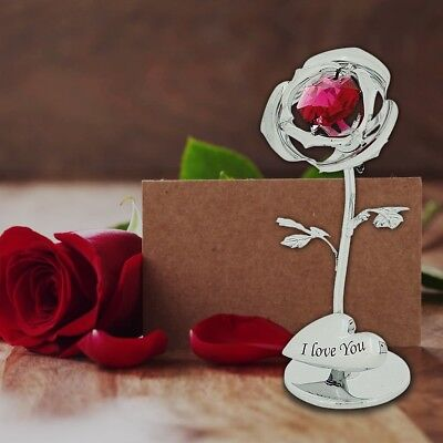 Crystocraft Silver Rose I LOVE YOU with Red Strass Swarovski Crystal Gift