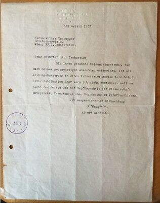 Original Albert Einstein Brief aus 1953 - TYPED LETTER SIGNED