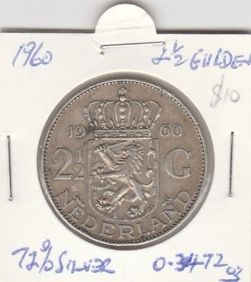 Netherlands 1960 Nice Coin 2 and a half Gulden Guilders 72% Silver. Free Post
