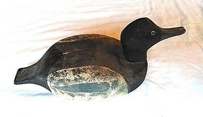 Vintage wooden hand carved duck decoy hand painted wood duck