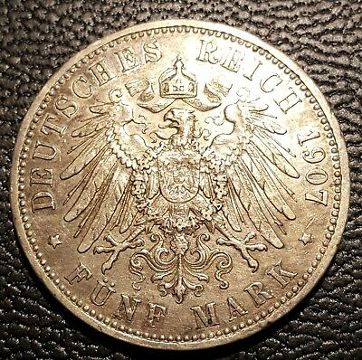 1907-A PRUSSIA (German State) 5 Mark  - Silver - Wilhelm II. Lightly Circulated!