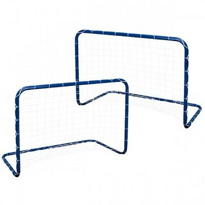 ALERT Sports 2x Fussballtor Kinder Fußball Hockey Tor Set Metall blau 78x56