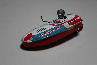 Vintage 1950 /60's Emerald Tin Toy Speed Boat , Yonezawa Made in Japan