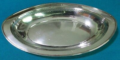 Vintage Sterling Silver Oval Reticulated Bread Tray J.S. Co. Joseph Seymour Co.