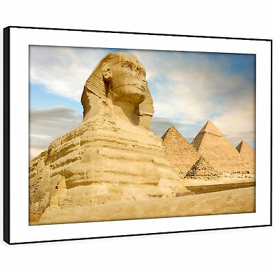 SC495 Blue Yellow Sphinx Egypt Landscape Framed Wall Art Large Picture Prints