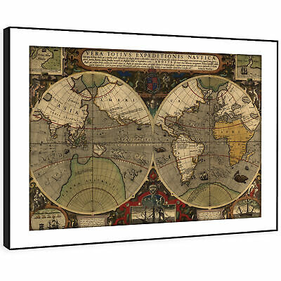 SC599 Retro Vintage World Map Cool Landscape Framed Wall Art Large Picture Print