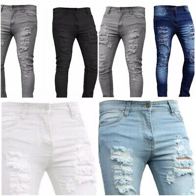 Mens Skinny Jeans Ripped Slim fit Stretch Denim Distress Frayed Biker Jeans Boys