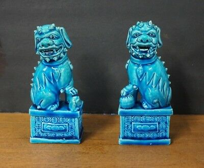 """Pair Of Vintage Chinese Porcelain Foo Dogs 6"""" H"""