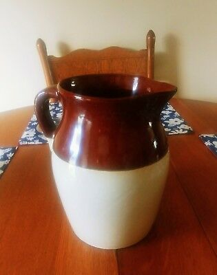 Roseville Pottery 2QT Brown and Cream Milk/Water Pitcher R.R.P. Co Ohio USA #121
