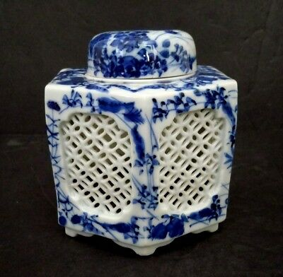 Antique Japanese Blue & White Cut Porcelain Inkwell