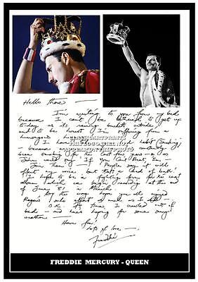 286. Queen Freddie Mercury Letter Signed A4  Photograph