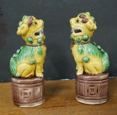"""Pair Of Vintage Chinese Porcelain Hand Painted Foo Dogs 4"""" H"""