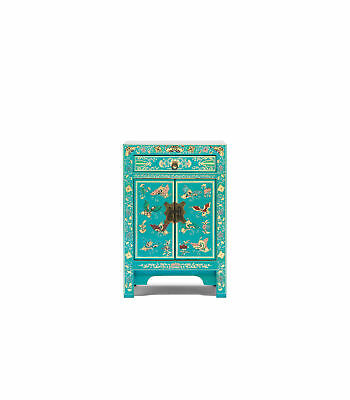 Premium Ming Dynasty 2 Door 1 Drawer Cabinet Small Solid Wood Blue Gold Leaf