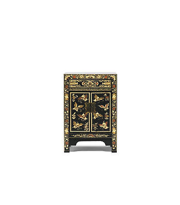 Premium Ming Dynasty 2 Door 1 Drawer Cabinet Small Solid Wood Black Gold Leaf