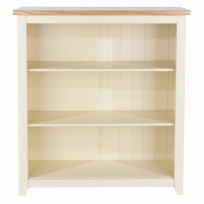 Truro Premium 3 Shelf Bookcase Low Display Unit Painted Cream and Oak Wood