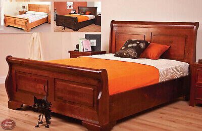 Queen Anne Solid Wood Sleigh Bed Frame Traditional Various Sizes and Colours