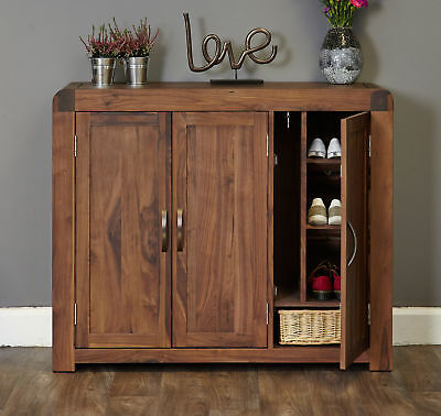 Shiro Premium Dark Wood Shoe Cabinet Extra Large Storage Modern Solid Walnut